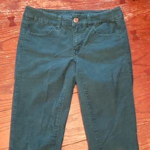 American Eagle Green Corduroy Jeggings